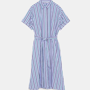 SHIRT DRESS WITH BELT White / Sky blue - L