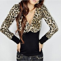 Women New Style Euro Style Sexy Leopard Printing V-Neck Long Sleeve Color Matching As Picture Cotton T-shirt One Size@LF2B9812ap $8.85 only in eFexcity.com.