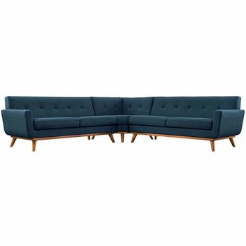 Engage L-Shaped Sectional Sofa, Azure