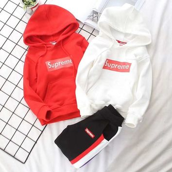 Supreme Girls Boys Children Baby Toddler Kids Child Fashion Casual Top Sweater Pullover Hoodie Pants Trousers Two Piece Set