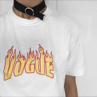 Vogue Flame 90s Unisex Tshirts Printed Grunge Style Oversize Tops Tees Tumblr Fashion Summer Cotton Casual O Neck Cool T shirts