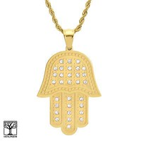 Jewelry Kay style Stainless Steel in Gold Iced Out Hamsa Hand Pendant Chain Necklace SCP 3543 G