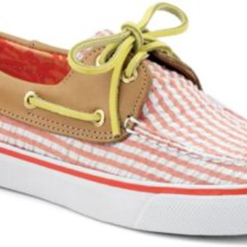 Sperry Top-Sider Bahama Seersucker 2-Eye Boat Shoe CoralSeersucker/Sand, Size 6M  Women's Shoes