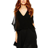 Black V- Neckline Cut-Out Sheer Sleeve Casual Dress