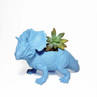 Up-cycled Light Blue Triceratops Planter