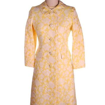 Vintage Ladies Yellow/White Brocade Coat & Dress Bergdorf Goodman 1970s 36-30-35