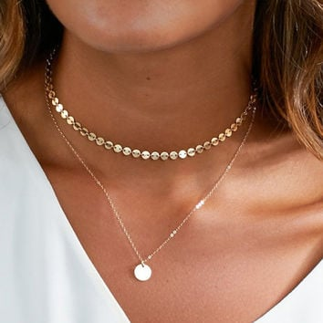 New Fashion Gold Coin Layered Necklace Set For Women Charm Choker Necklace XL455