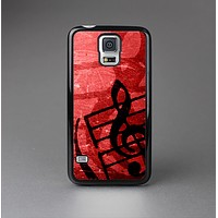 The Scratched Red Surface with Black Music Note Skin-Sert Case for the Samsung Galaxy S5