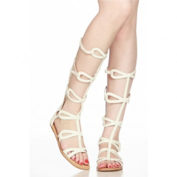 White Faux Leather Elastic Strap Gladiator Sandals @ Cicihot Sandals Shoes online store sale:Sandals,Thong Sandals,Women's Sandals,Dress Sandals,Summer Shoes,Spring Shoes,Wooden Sandal,Ladies Sandals,Girls Sandals,Evening Dress Shoes