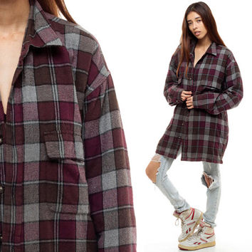 Flannel Jacket 90s Grey Plaid Shirt QUILTED Burgundy Oversize Long Sleeve Button Up 1990s GRUNGE Vintage Hipster Lumberjack Extra Large xl