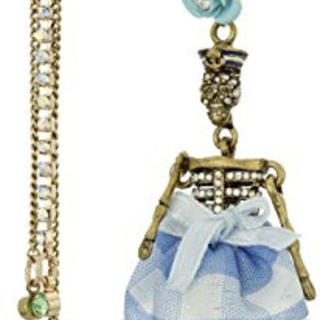 """Betsey Johnson """"Skulls and Roses"""" Pave Girl Skull and Multi-Chain Linear Mismatch Drop Earrings"""