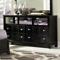 Homelegance Jacqueline Mirrored Drawer Front Dresser in Black Faux Alligator