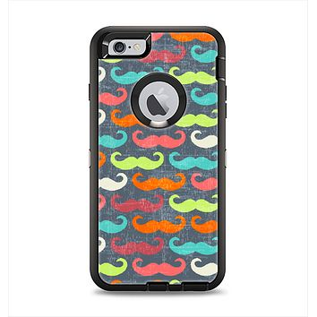 The Colorful Scratched Mustache Pattern Apple iPhone 6 Plus Otterbox Defender Case Skin Set