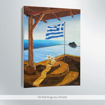 GREEK SEA  Oil painting, 12x16i, Summer, Blue, Beige, Brown, White, Greek art, Birthday gift, canvas, gift ideas, Free shipping, ART
