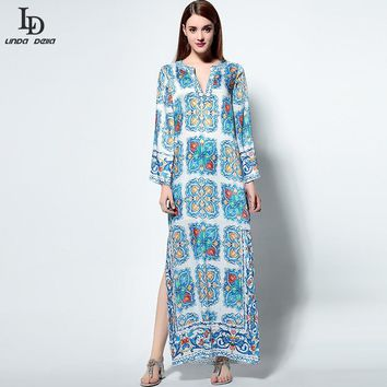 High Quality New Fashion Runway Boho Beach Dress Women Long Sleeve Noble Beading Casual Floral Print Maxi Long Dress
