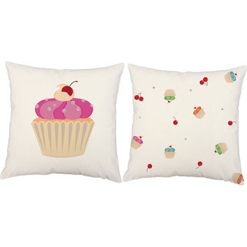 Set of 2 Cupcake Print Throw Pillows - Cupcake Throw Pillow Covers with or without Cushion Inserts - Girls Room Decor, Dessert Print, Cake