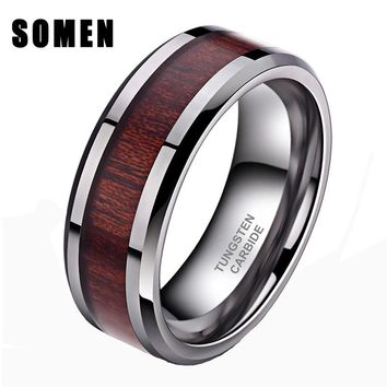 Somen 8mm Tungsten Carbide Ring Koa Wood Inlay Wedding Band For Men Women High Polished Edges Finish anel masculino Comfort Fit