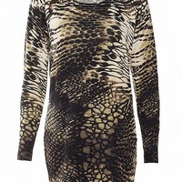 MapleClan Women's Printed Pullover Long Knit Top Snake Skin