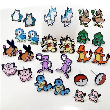 1Pair Enamel Metal  Go Team Piecring Ear Stud Earrings For Womens Jewelry Pocket Monster Bulbasaur Squirtle Mew EaringsKawaii Pokemon go  AT_89_9