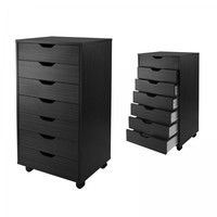 "7 Drawer Halifax Cabinet (Black) (35.35""H x 19.21""W x 15.98""D)"