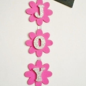 HANGING GLITTER LETTERS - Decorative Vertical Hanging Wall Letters in Square or Flower Shape