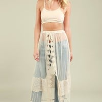 Sheer Lace Panel Maxi Skirt