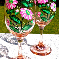 Pink Wine Glasses With Hand Painted Flowers And Wine Glass Charms, Mothers Day Gift, Birthday Gift, Wedding Gift