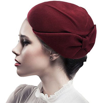 NYfashion101 Exclusive Women's Enlarged Bow Wool Cocktail Pillbox Hat - Burgundy