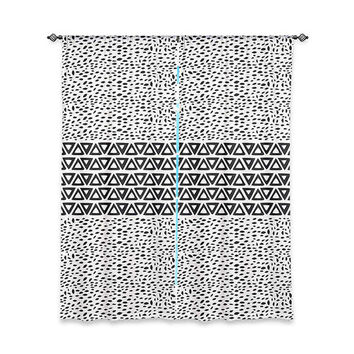 Aztec Black and White Window Curtain  – Minimal Tribal Design
