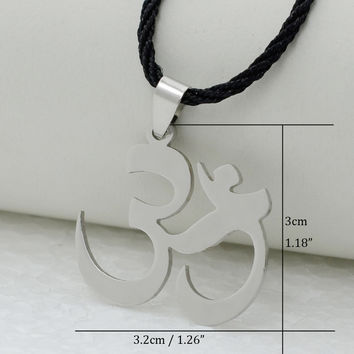 """India Yoga Necklace Pendant Women OHM Hindu Buddhist AUM OM Hinduism Outdoor Sport,18""""24"""" Chain Stainless Steel Jewelry Men Girl"""