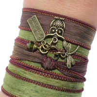 Bohemian Owl Silk Wrap Bracelet Yoga Jewelry Olive Green Burgundy Dragonfly Believe Unique Gift for Her Birthday Under 30 Item V6