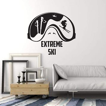 Vinyl Wall Decal Extreme Ski Club Skiing Mountain Interior Art Stickers Mural (ig5766)