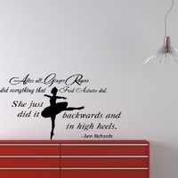 Housewares Wall Vinyl Decal Quote About Dance Life Ballet with Dancer Ballerina Home Art Decor Kids Nursery Removable Stylish Sticker Mural Unique Design for Any Room