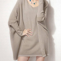 Oversized Batwing Sleeve Jumper in Khaki
