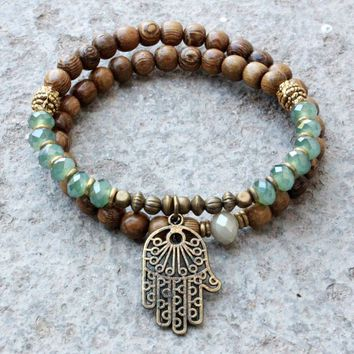 Protection, Wood and Green Crystal 54 Bead Wrap Mala Bracelet with Hamsa Hand
