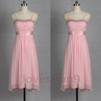 2014 Ankle length Pink Ruffle Chiffon Prom Dress Homecoming dress Elegant Bridesmaid Dress Adorable Evening Gown Party Gown Celebrity