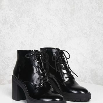 Faux Patent Leather Boots