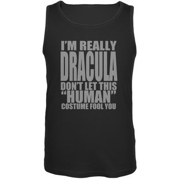 Halloween Human Dracula Costume Black Adult Tank Top