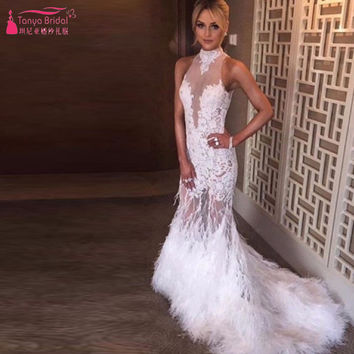 White Mermaid Prom Dresses Luxury Feather Halter Sleeveless Lace Evening Dresses Elegant Important Party Gowns  Z754