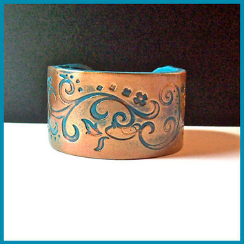 Cuff Bracelet 1 1/2 in. wide Copper and Turquoise Swirl Design Handcrafted Polymer Clay