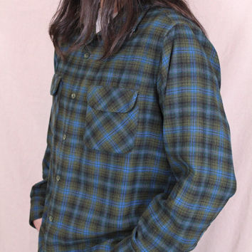 Vintage - Pendleton - 70s/80s -Blue Black & Olive Green - Wool - Flannel - Button Up - Collar - Shirt - Mens - Unisex - Grunge Revival