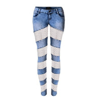 Women sexy denim pants fashion new lace patchwork sexy hollow out low waisted skinny casual pencil jeans SP2108