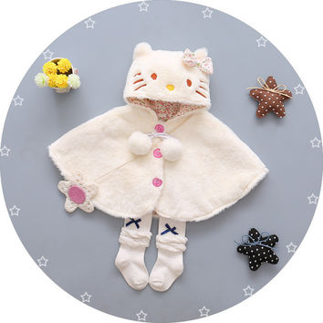 Long sleeve cotton baby suit cute cat hooded cape coat