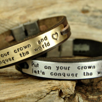 FREE SHIPPING - Personalized Couple Bracelet, Leather Men Bracelet, Men's and Women's Leather Bracelet  Black Leather Couple Bracelet