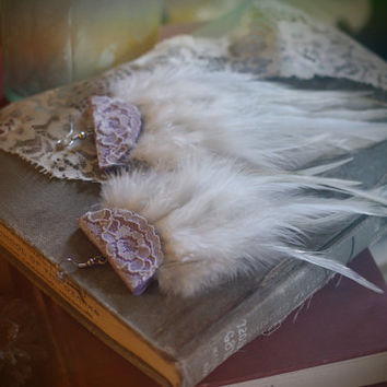 lilac // lace, leather, & feather earrings