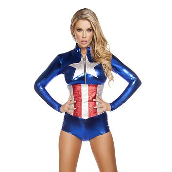 Captain America Long Sleeve Bodysuit Costume