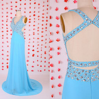Gorgeous blue backless chiffon prom dresses gowns beautiful beadwork,Evening party dresses,2015 new halter prom dress sweep train,sexy dress