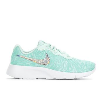 Bedazzled Aqua Girls Nike Tanjun | 10.5-3