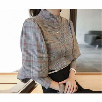 Gray Plaid High Collar Bowknot Long Sleeve Cotton Blouse