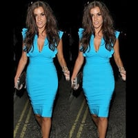 Celebrity Deep V-neck Bodycon Knee-length Tunic Pencil Dress